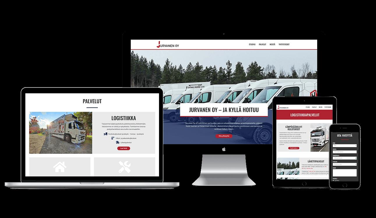 new web design mockup Jurvanen Oy