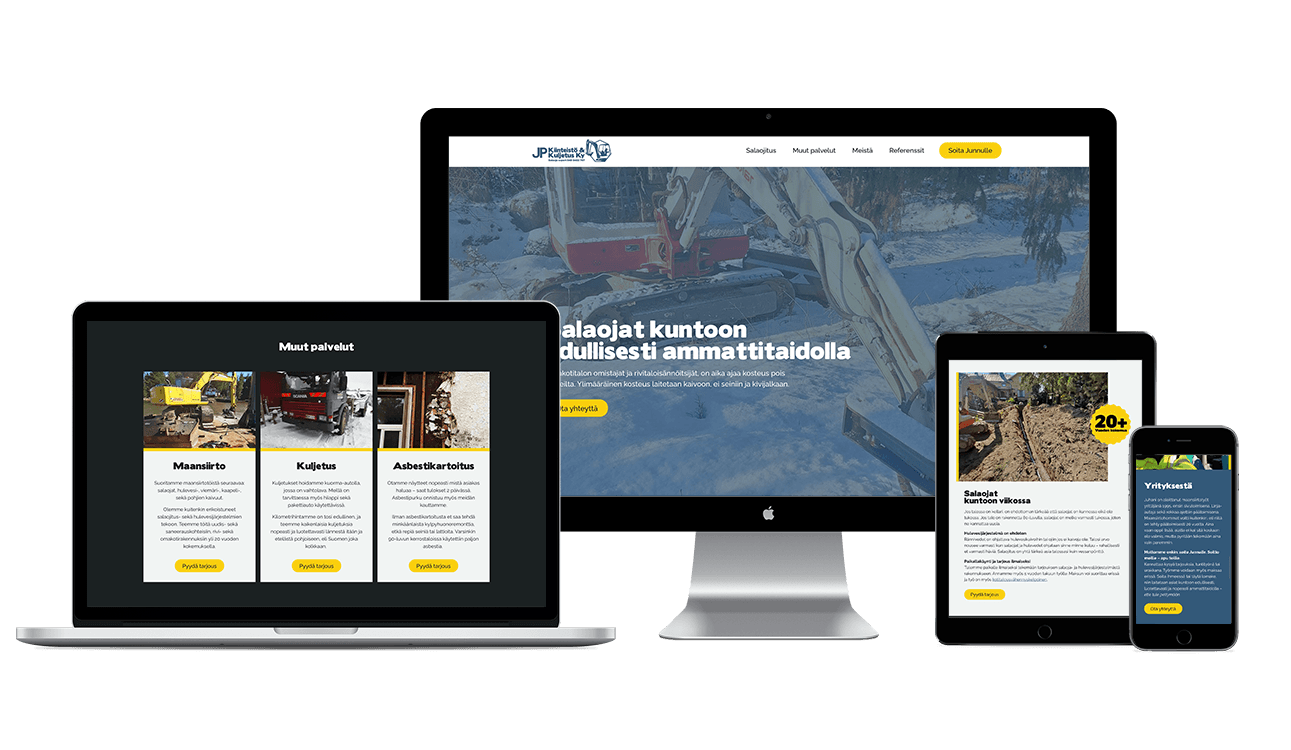 mockup of a new website for company